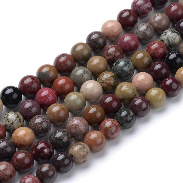 Natürlicher Picasso Jaspis Perlenstrang rund glatt glänzend 6 mm (ca. 70 Perlen / ca. 39 cm Länge)