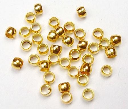 1,6 Gramm (ca. 100 Stück) Messing Quetschperlen goldfarben