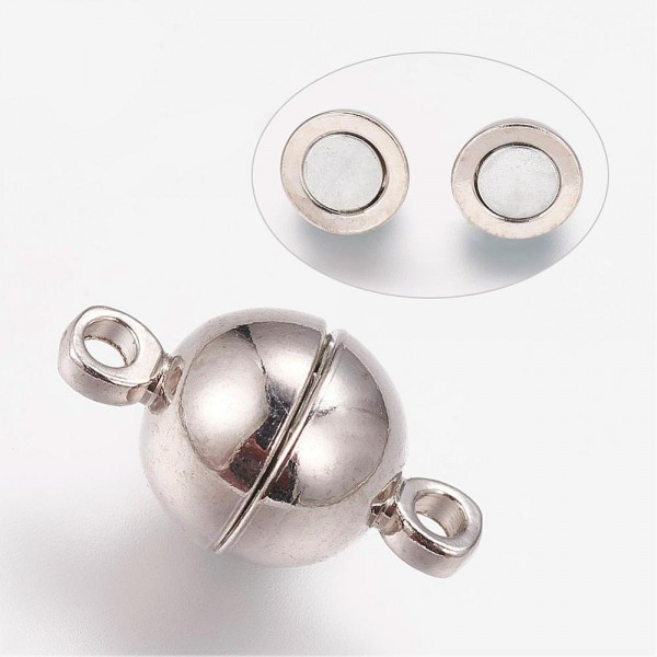 2 runde starke Magnetverschlüsse platinfarben 14 x 8 mm
