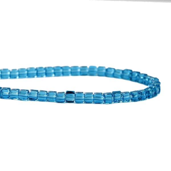 1 Strang Glasperlen malachitblau transparent facettiert 3 x 3 mm (ca. 100 Perlen / ca. 29,5 cm Länge