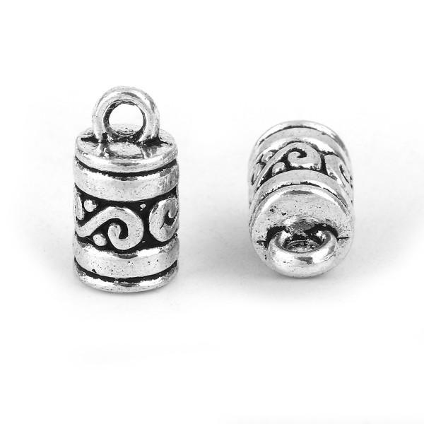 4 Schnur Endkappen für Halskette oder Armband antik silberfarben