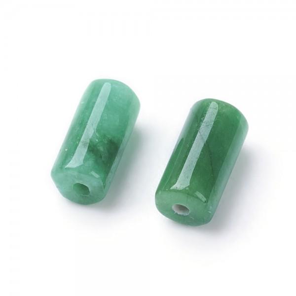 2 Natürliche Jade Perlen gefärbt grün 8 x 4 mm