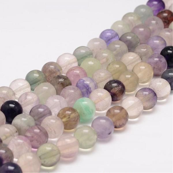 Regenbogen Fluorit Perlen klar 6 mm (ca. 63 Perlen / ca. 40 cm lang)