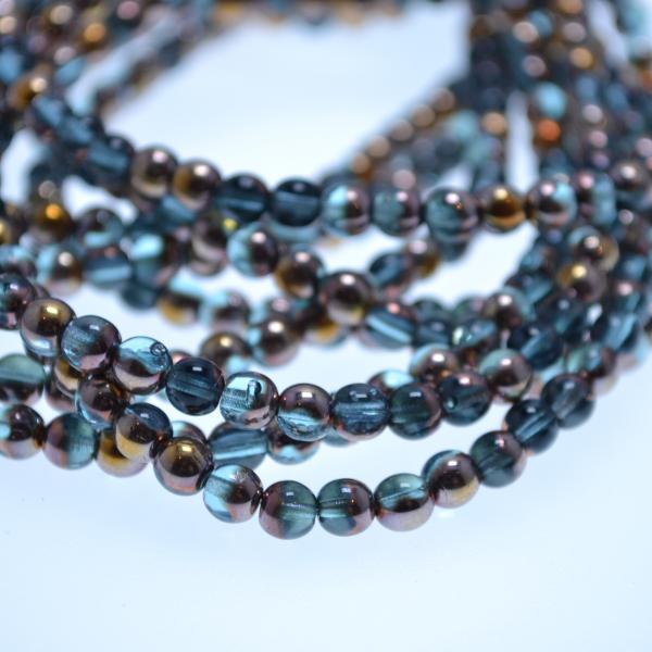 1 Strang tschechische Glasperlen hellblau gold 5 mm (ca. 50 Perlen / ca. 26 cm Länge)