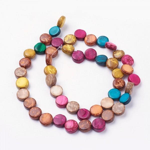 Kokosnuss Perlenstrang flach rund gemischte Farben 9 x 3,5 mm (ca 47 Perlen / 40 cm Länge)