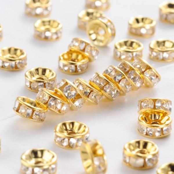 30 Strass Rondelle Spacer Zwischenperlen aus Eisen goldfarben Klasse B 7 - 8 x 3,4 mm