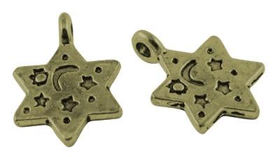 5 Charms Stern antik bronzefarben
