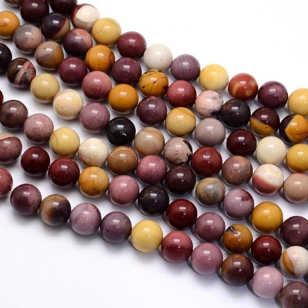 Natürlicher Mookait Perlenstrang rund glatt glänzend 8 mm (ca. 47 Perlen / ca. 37 cm Länge)