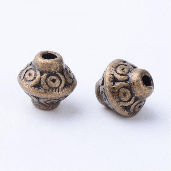 25 tibetische Metallperlen antik bronzefarben 6,5 x 6,5 mm