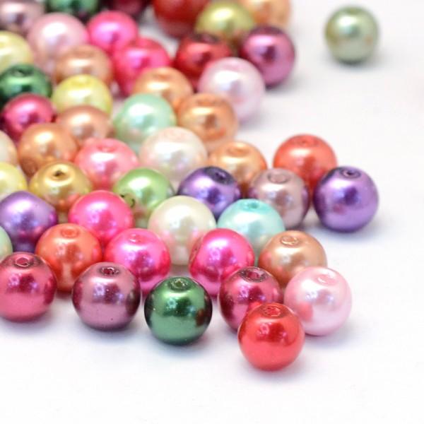 30 Glasperlen bunter Farbmix 6 - 7 mm