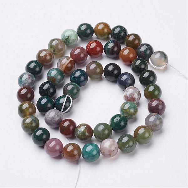 Natürlicher indischer Achat Perlenstrang glatt glänzend 6 mm (ca. 59 Perlen / 38 cm lang)