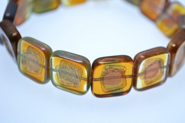 2 hochwertige tschechische quadratische Glasperlen braun transparent 5 cm