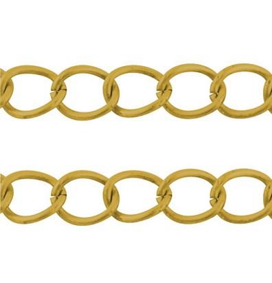 1 Meter lange Kette aus Eisen goldfarben zum Einflechten von Bändern geeignet 14,3x10x1,8 mm