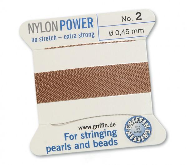 Griffin Perlseide Nylon Power No. 2 beige mit Nadel 0,45 mm