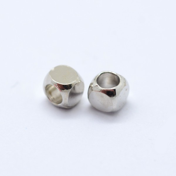 20 Metallperlen Zwischenperlen Spacer Würfel platinfarben 3 x 3 x 3 mm