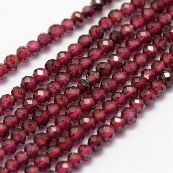 Natürlicher facettierter Granat Perlenstrang 3 mm (ca. 144 Perlen / ca. 39 cm Länge)