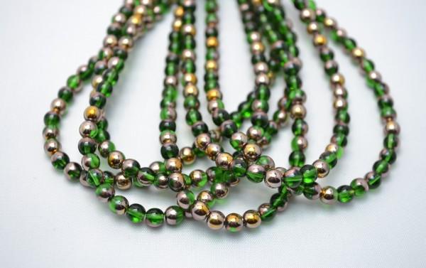 1 Strang hochwertige tschechische Glasperlen grün goldfarben 5 mm (ca. 50 Perlen / ca. 26 cm Länge)