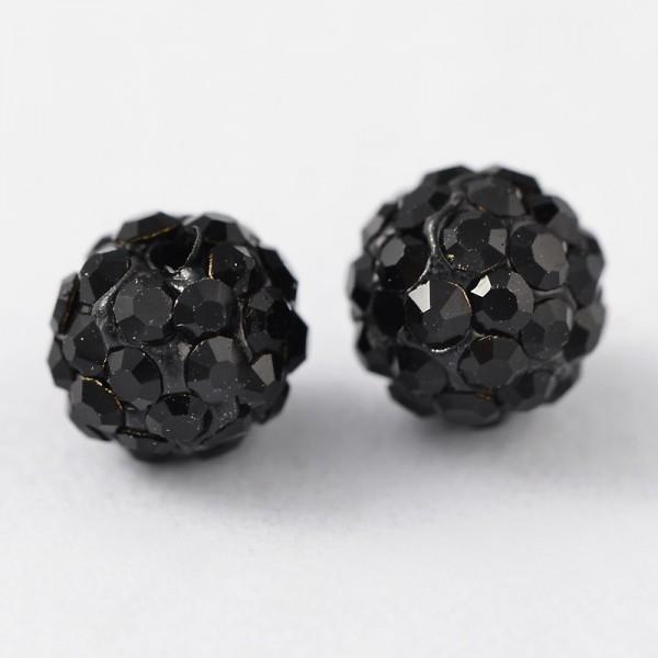 2 schwarze Polymer Perlen mit schwarzem Strass Klasse A rund 6 mm