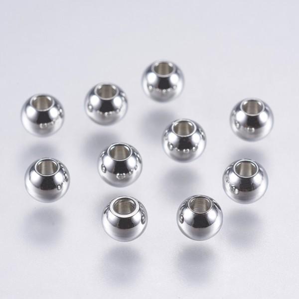 100 Eisen Zwischenperlen rund platinfarben 3 mm