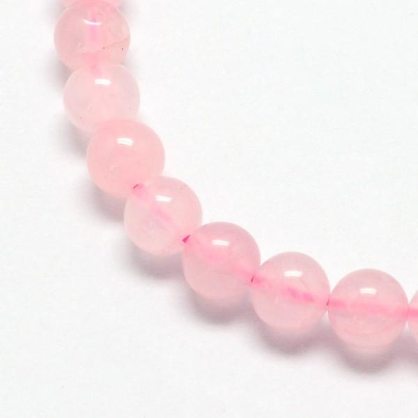 Natürlicher Rosenquarz Perlenstrang rund glatt glänzend 10 mm (ca. 37 Perlen / ca. 38 cm Länge)