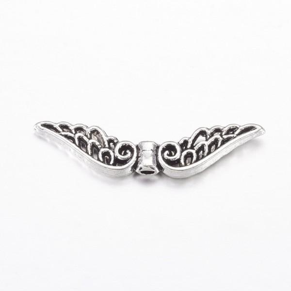 10 Engelsflügel Perlen antik silberfarben 32 mm lang 6 mm breit