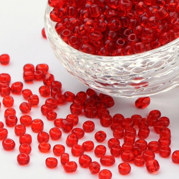 50 Gramm Rocailles transparent rund rot