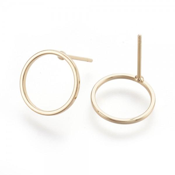 1 Paar Ohrstecker mit Ring mit echtem Gold überzogen und weichem Ohrstopper 12 x 0,8 mm