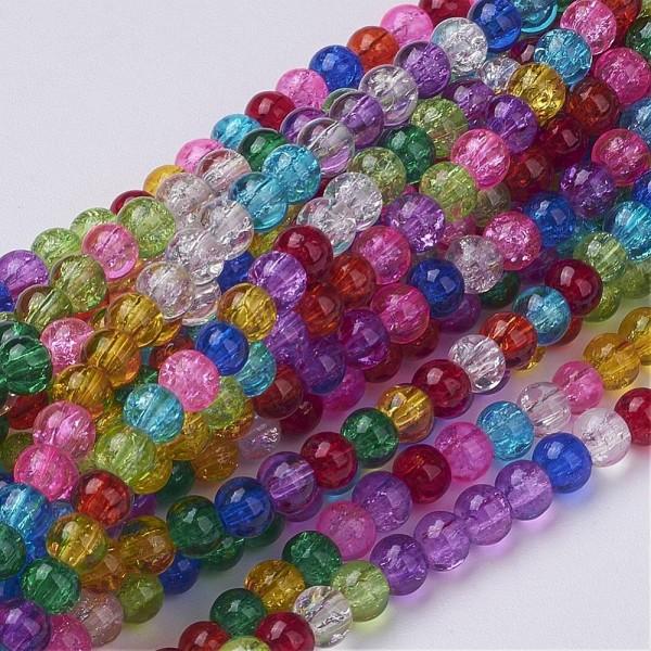 1 Strang (ca. 100 Stück) Crackle Perlen 4 mm Farbmix