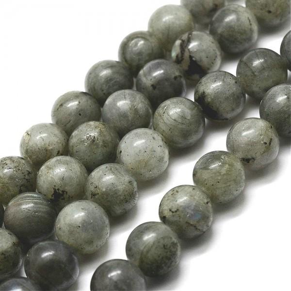 Natürlicher Labradorit Perlenstrang rund glatt glänzend 8 mm (ca. 48 Perlen / ca. 39 cm Länge)
