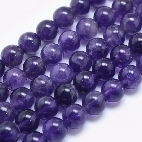 Natürlicher Amethyst Perlenstrang rund glatt 6 mm (ca. 65 Perlen / ca. 39,5 cm Länge)