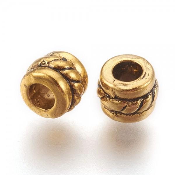 25 goldfarbene Metall Zwischenperlen Spacer mit Muster 5 mm