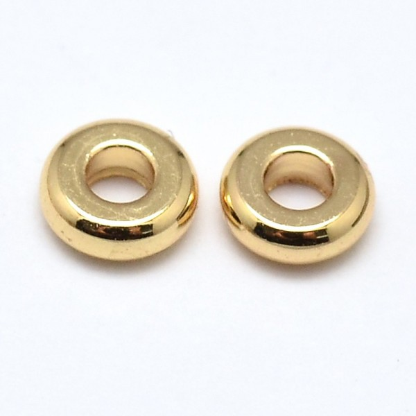 10 Flache runde Metallerlen goldfarben