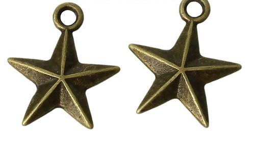 3 Charm Anhänger Stern bronzefarben