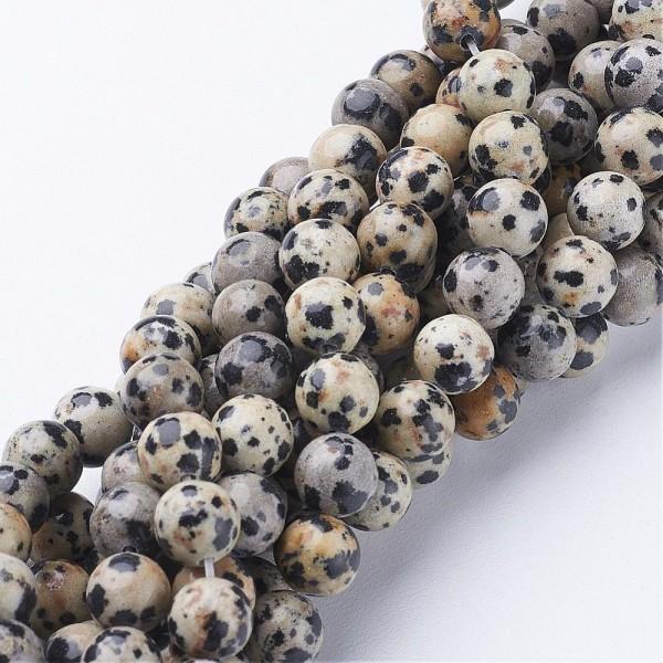 50 Dalmatinerperlen glatt glänzend 8 mm (entspricht einem Strang von 38 cm Länge)