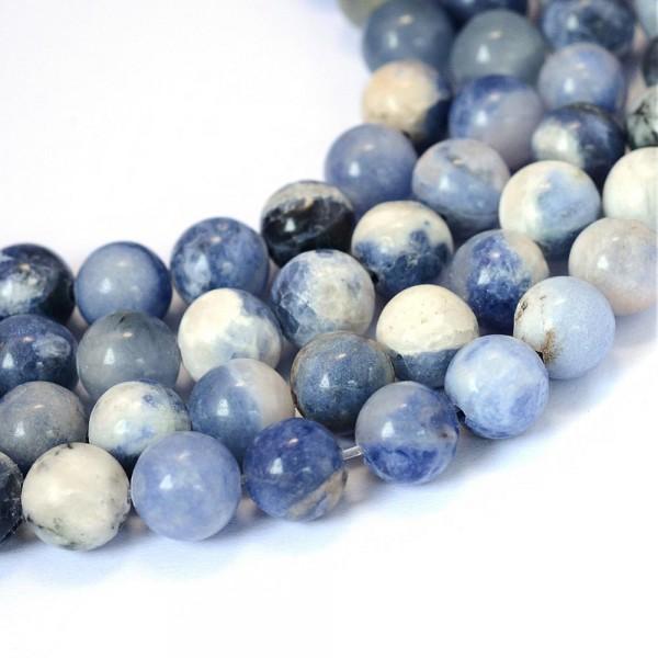 Natürlicher Sodalith Perlenstrang rund glatt 6 - 6,5 mm (ca. 63 Perlen / ca. 39 cm Länge)
