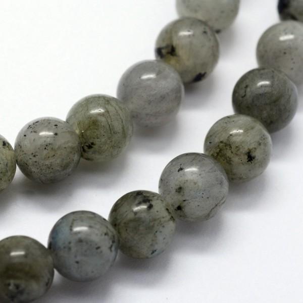 Natürlicher Labradorit Perlenstrang rund glänzend 4 mm (ca. 95 Perlen / ca. 37,5 cm Länge)