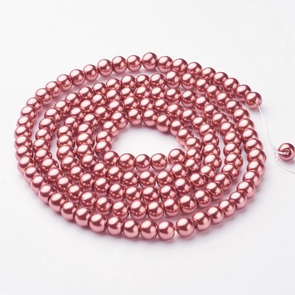 1 Strang Glaswachperlen rund glänzend rosa 6 mm (ca. 140 Perlen / ca. 82 cm Länge)