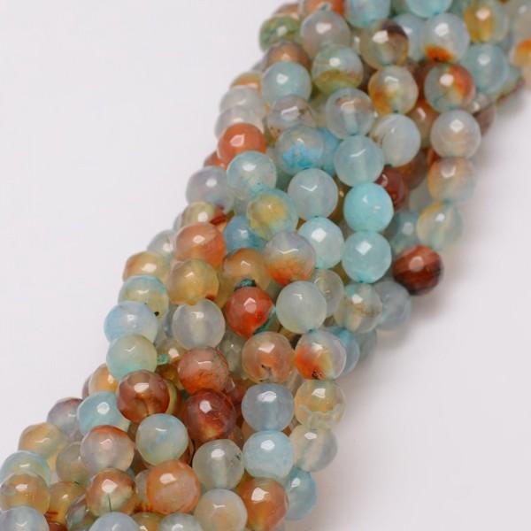 Natürlicher Achat Perlenstrang gefärbt facetiert hellblau natur 8 mm (ca. 47 Perlen / ca. 38 cm Läng