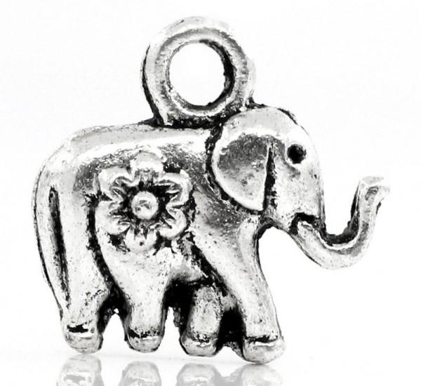 3 Charm Anhänger Elefant antik silberfarben