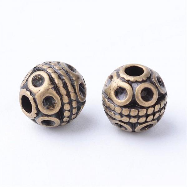 20 tibetische Metallperlen mit Muster antik bronzefarben 8 mm