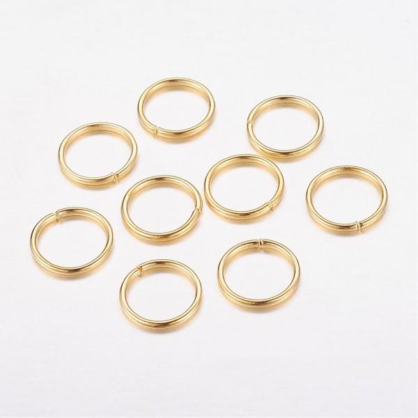 100 Eisen Biegeringe Binderinge offen goldfarben 7 mm