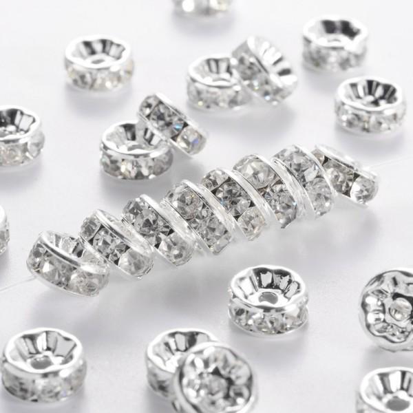 10 klare weiße Strass Rondelle Spacer Perlen 8 mm Klasse A