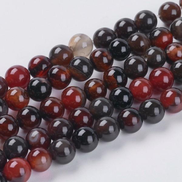 Natürlicher kurzer Achat Perlenstrang rund glatt glänzend 6 mm (ca. 32 Perlen / ca. 19 cm Länge)
