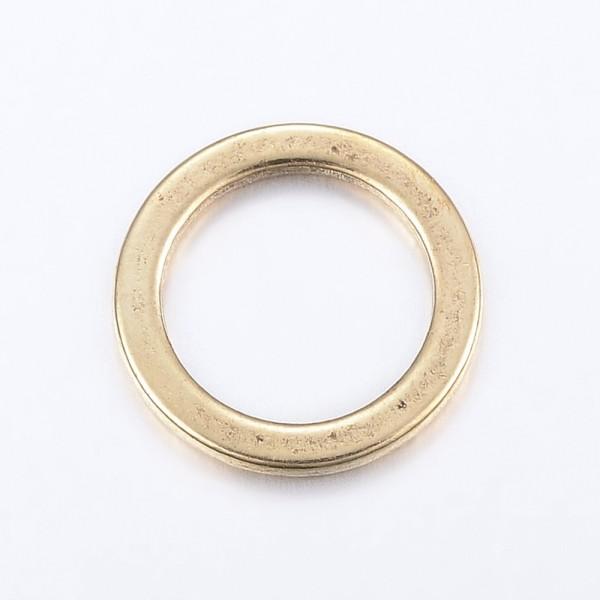 5 Verbinder Ringe antik goldfarben 15 x 1,2 mm