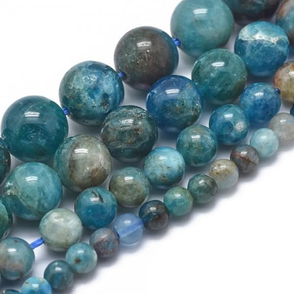 Natürlicher Apatit Perlenstrang Klasse AB rund glatt 4 mm (ca. 105 Perlen / ca. 40 cm Länge)