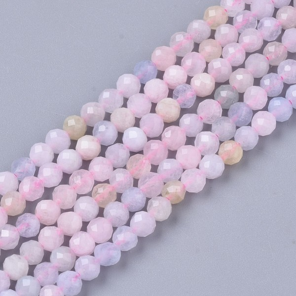 Natürlicher Morganit Perlenstrang facettiert 3 mm (ca. 137 Perlen / ca. 39,5 cm Länge)