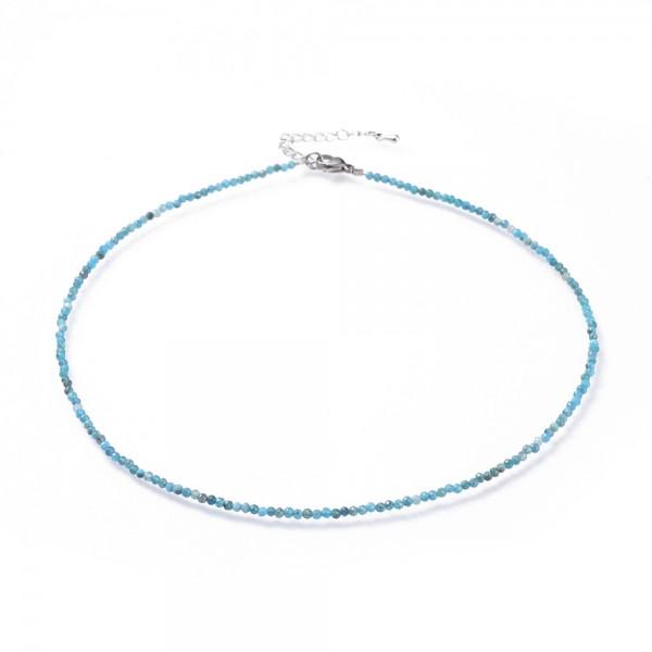 Natürliche zierliche Edelstein Perlenkette Apatit 40,2 cm mit Verlängerungskette 44,5 cm