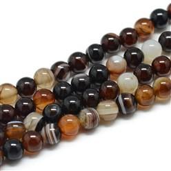 Natürlicher gestreifter Achatperlenstrang rund glatt glänzend braun 6 mm (ca. 63 Perlen / ca. 38 cm