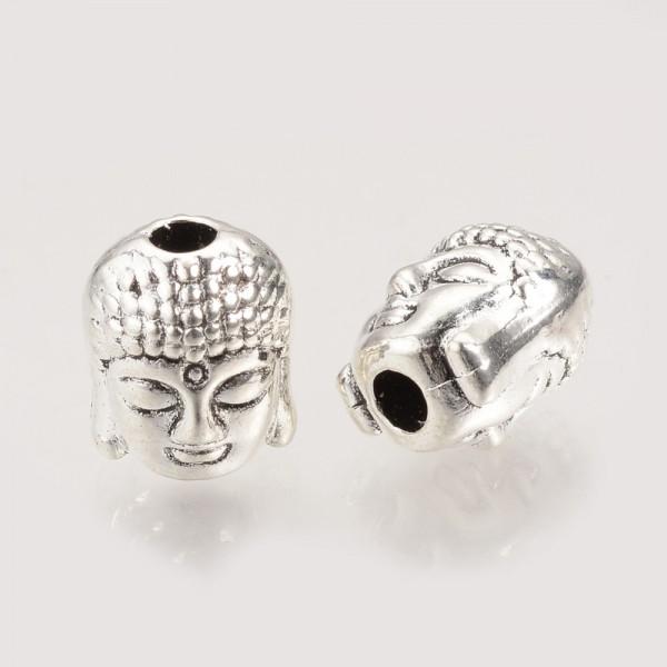 5 Buddha Perlen aus Metall antik silberfarben 9 x 7 x 7 mm
