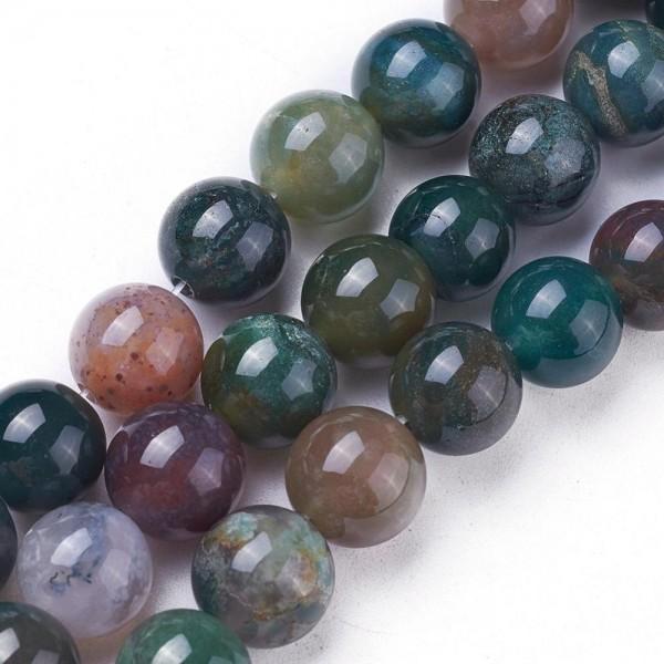 Natürliche indische Achatperlen rund glatt 8 mm (ca. 50 Perlen / ca. 37 cm Länge)